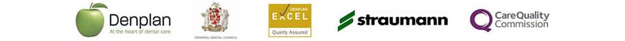 Denplan, GDC, CQC and Straumann logos