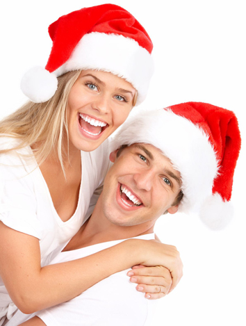 Toothy Grins in Christmas Hats white background SMALLER